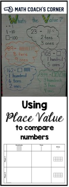 Comparing numbers needs to be based on an understanding of place value. Download a free place value mat for comparing numbers with base-10 blocks.