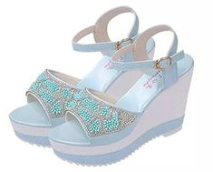 YINHAN Womens Ankle Buckle Wedge Sandals Fashion Beading Summer Shoes Blue 36 >>> Check out this great product.(This is an Amazon affiliate link and I receive a commission for the sales)