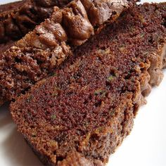 Zucchini and a double dose of chocolate star in this moist and sweet quick bread. Pineapple Zucchini Loaf, Lemon Zucchini Bread, Zucchini Cheese, Chocolate Zucchini Bread, Zucchini Bread Recipes, Banana Nut Bread, Banana Bread Recipes, Zucchini Muffins, Vegetarian Chocolate