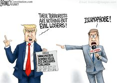 Mainstream media can't detract from their destroy Trump mission to focus on some real news, like the bombing in Manchester England. Cartoon by A.F. Branco