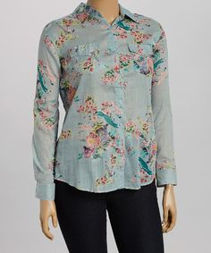 Love this Gray & Pink Floral Button-Up - Plus by Cotton Daisy on #zulily! #zulilyfinds