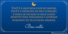 Cartão lua: Você é a mais bela flor do jardim, você é a princesa do meu coração, é hora de fechar os seus olhos bonitos para descansar e acordar sorrindo de felicidade amanhã. http://www.lindasfrasesdeamor.org/mensagens/amor/boa-noite