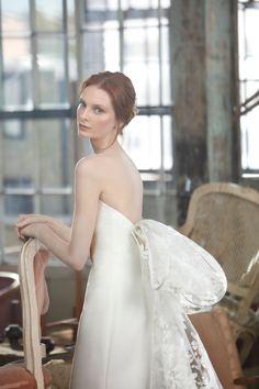 Sareh Nouri Fall 2020 - The French Romance Collection Dress: Claudette Bow Bridal Gowns & Veils. Sareh Nouri, www.sarehnouri.com, @sarehnouri Photographer: Mani Zarrin Makeup: Samatha Agostino Makeup