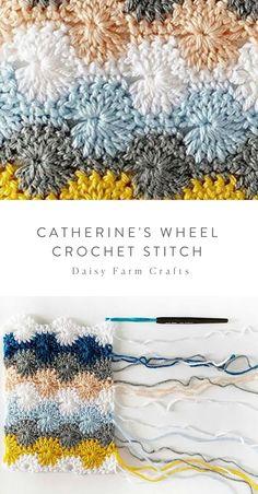 How to Crochet the Catherine's Wheel Crochet StitchCrochet The Catherine Wheel Stitch – Easy…Free Crochet Stitch Tutorial for the Feather stitch.…How to Crochet the Spike Stitch There are many… Crochet Stitches Free, Mode Crochet, Crochet Blanket Patterns, Stitch Patterns, Knitting Patterns, Crochet Shell Stitch, Crochet Basics, Crochet Motif, Free Knitting
