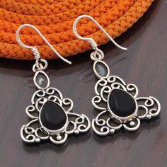 BLACK ONYX 925 STERLING SILVER FANCY EARRING JEWELLERY 6.49g DJER2710 #Handmade #EARRING