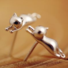 Accessories New Design Small Animals Stud Earrings Sweet Stereo Cat Earrings Silver Plated Fashion Jewelry Female's Korea Style #Affiliate