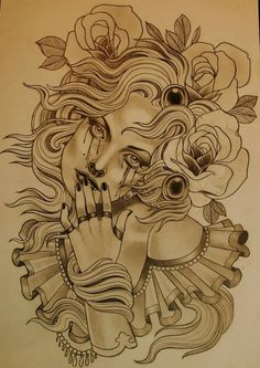 Emily Rose Murray is another favourite. Local tattoo artist situated in… Tattoo Sketches, Tattoo Drawings, Drawing Sketches, Art Drawings, Neo Tattoo, Tumblr Drawings, Emily Rose, Tattoo Flash Art, Neo Traditional Tattoo
