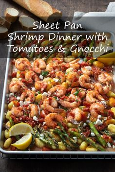 This Sheet Pan Shrimp Dinner brings together store-bought gnocchi, succulent shrimp, and diced tomatoes to make a flavorful and satisfying meal. And it's all cooked on one pan—no boiling required! Shrimp Gnocchi Recipe, Gnocchi Recipes, Best Seafood Recipes, Keto Recipes, Healthy Recipes, Sheet Pan Suppers, Shrimp Recipes For Dinner, Shrimp And Asparagus, Healthy Appetizers