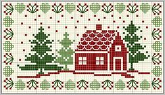 Country Christmas cross stitch, free pattern, lots of other free patterns