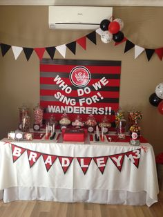 Western Sydney Wanderers Candy Buffet 16th Birthday, Birthday Cake, Soccer Cakes, Party Themes, Party Ideas, Soccer Party, Candy Buffet, Dessert Bars, Girls Be Like