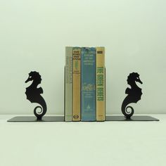 Seahorse Metal Art Bookends - Free USA Shipping