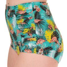 Wanderlust bikini broekje met hoge taille en flamingo print multicolours…