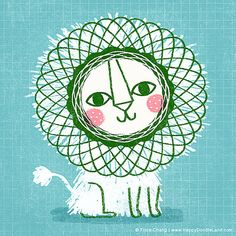 Lion  Art Print van HappyDoodleLand op Etsy