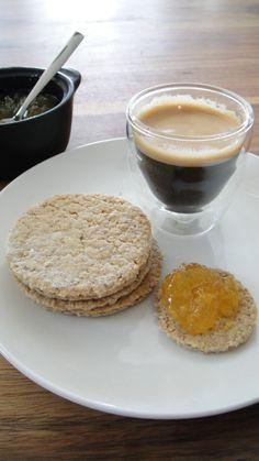 McCallum's Oatcakes breakfast with orange marmalade and coffee