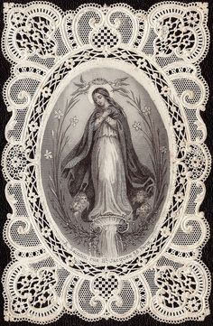Most Holy Virgin Holy card Religious Images, Religious Icons, Religious Art, Blessed Mother Mary, Blessed Virgin Mary, Immaculée Conception, Vintage Holy Cards, Mama Mary, Queen Of Heaven