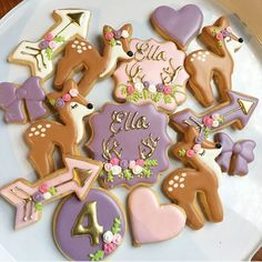 Woodland deer themed cookies for my Miss Ella's birthday party this weekend! Loving the theme and colours can't wait to set everything up! #deercookies #purplecookies #woodlandcookies #turningfour deer cutter from @sheybcookiedesigns