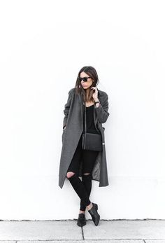 how to style oxford shoes - with ripped black skinny jeans, a gray longline coat and crossbody bag