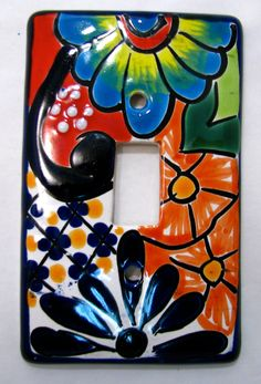 """TALAVERA SWITCH PLATE SINGLE TOGGLE HAND PAINTED MEASURES 3"""" X 5"""" MADE IN MEXICO"""