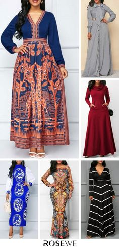 You need a comfortable #dress to withstand the cold in this winter. High-quality materials and beautiful patterns are suitable for any figure. More discounts for Thanksgiving, Black Friday and Christmas. Free shipping worldwide and 30 days easy return! African Attire, African Wear, African Fashion Dresses, African Dress, Clothes For Women In 30's, Maxi Dress With Sleeves, Maxi Dresses, Mode Style, Plus Size Fashion