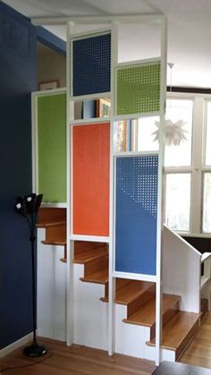 Here at Retro Renovation, you know we love pegboard for its appropriateness, versatility, affordability, humility and utility in kitchens — but how about as a decorative feature in other rooms? Diy Room Divider, Room Dividers, Retro Renovation, Retro Home, Other Rooms, Modern Room, Home Projects, Decoration, Small Spaces