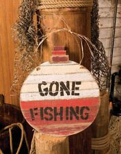 GONE FISHING Rustic Bobber Wood Plank Lodge Log Cabin Home Decor Wood Sign