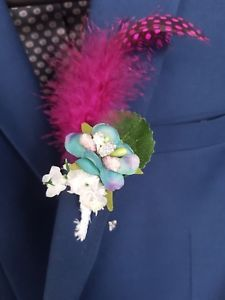 £5.99. Buy it now more than 12 available Peacock colour flower with Guinea hen feather dark pink and baby's breath. Handmade collection by Gianna Creations.