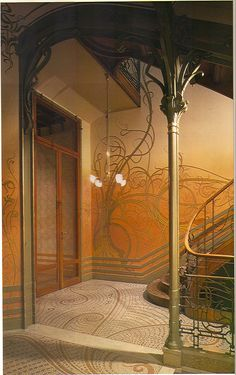Victor Horta - Tassel House, Brussels - - Art Nouveau in Brussels Beautiful Architecture, Beautiful Buildings, Architecture Details, Interior Architecture, Beautiful Places, Art Deco, Art Nouveau Design, Design Art, Art Nouveau Arquitectura