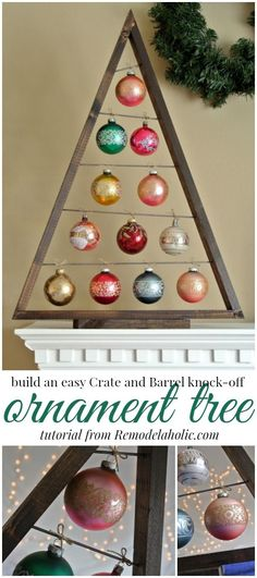 """Build an easy ornament display tree Remodelaholic <a class=""""pintag"""" href=""""/explore/christmas/"""" title=""""#christmas explore Pinterest"""">#christmas</a> <a class=""""pintag searchlink"""" data-query=""""%23holidaydecor"""" data-type=""""hashtag"""" href=""""/search/?q=%23holidaydecor&rs=hashtag"""" rel=""""nofollow"""" title=""""#holidaydecor search Pinterest"""">#holidaydecor</a>"""