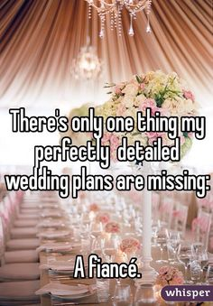 There's only one thing my perfectly detailed wedding plans are missing: a fiancé. #lol #weddings