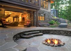 Flagstone patio and sunken firepit