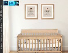 Nursery Interior #13 Set of 8x10 Light Wood Portrait & Landscape Frames Wooden Baby Crib, 4 Print Display Mockups, PNG PSD PSE Custom colors