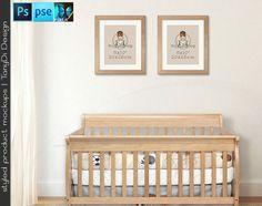 Nursery Interior #13 Set of 8x10 Light Wood Portrait & Landscape Frames Wooden Baby Crib, 4 Print Display Mockups, PNG PSD PSE Custom colors