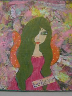 Believe  Original mixed media painting on wood by eltsamp on Etsy, $70.00