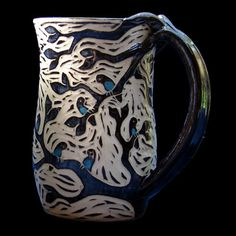 Woodcut Birds in a Tree Mug by rhoneypots on Etsy, $44.00
