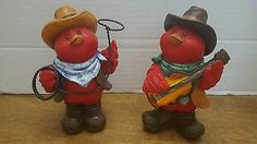 Pair of Cowboy Cardinals Country Western Red Birds Figurines