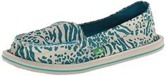 Sanuk Women's Shorty Leppatyga Slip-On Loafer,Teal,8 M US