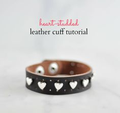 Heart studded leather cuff tutorial