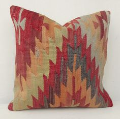 Kilim Pillow, Decorative Red Yellow and Gray  Kilim Pillow, Throw Kilim Pillow, Throw Pillow, Red  Accent Pillow 16 ' inch