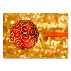 Red Christmas Ornament Table Card