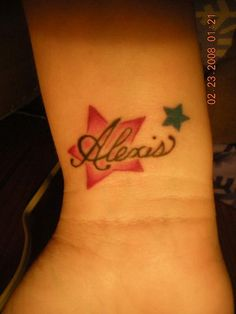 Savannahs name birthdaynot in same spot Name Tattoos On Wrist, Star Tattoo On Wrist, Back Tattoos, Star Tattoos, Wrist Flowers, Water Flowers, Tattoos Gallery, Kid Names, Tatting