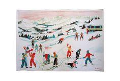 Vintage French Ski Lithograph