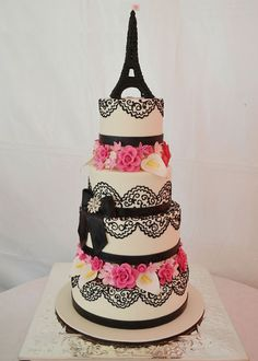 Black & White Eiffel Tower Cake