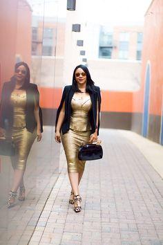 What to Wear This Valentine's Day: Liquid Gold, Who What Wear Women's Cape Blazer, XOXO Off the Shoulder Metallic Peplum Top, XOXO Metallic Gold Midi Pencil Skirt, Bodhi Safety Pin Calf Hair Clutch, BCBGeneration Darron Leopard Pumps