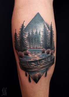 Rhombus-shaped forest and lake landscape with a small rowboat tattoo on the calf Tattoo Designs And Meanings, Tattoos With Meaning, Tattoo Designs Men, Forest Tattoo Sleeve, Forest Tattoos, Tree Tattoos, Tatoos, Wisconsin Tattoos, Lake Tattoo