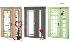 Frustrated Yeti windkeeper's simple doors & sidelights in pirate woods & yeti colors  - doors 1 & 2 and all sidelights now share wood frames with door 3 (center)
