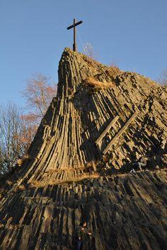 The druid stone 20 meter natural basalt rock formation, Westerwald - Germany Eden Tree, Basalt Rock, Rocky Creek, Basalt Columns, Before The Flood, Giant Tree, Place To Shoot, Wanderlust, Cool Rocks
