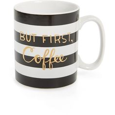 Junior Tri-Coastal Design 'But First, Coffee' Ceramic Mug ($12) ❤ liked on Polyvore featuring home, kitchen & dining, drinkware, black, ceramic mugs, coffee mugs, black mug, black ceramic mug and striped mug