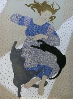 Afternoon Sleep - Ekaterina Goncharova - It's as if they are floating. Art And Illustration, Illustrations, Crazy Cat Lady, Crazy Cats, She And Her Cat, Cat Quilt, Cat People, Here Kitty Kitty, I Love Cats