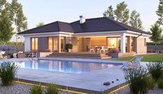 Projekt domu parterowego Nela V o pow. 137,4 m2 z obszernym garażem, z dachem wielospadowym, z tarasem, sprawdź! Modern Brick House, Modern Bungalow Exterior, Modern Bungalow House, Bungalow House Plans, Dream House Exterior, Modern House Design, Home Design, House Plans Mansion, My House Plans