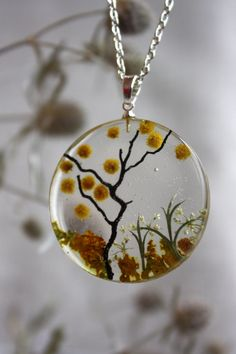 Transparent pendant with mimosa. Round Pendant . Pendant epoxy resin. mimosa pendant by Dingaya on Etsy